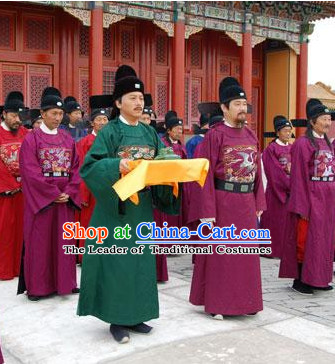 Green Ming Dynasty Official Statesman Officer Chancellor Costumes Dresses Clothing Clothes Garment Outfits Suits Complete Set for Men