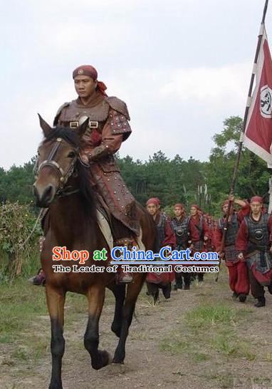 Ming Dynasty Military General Xu Da Armor Costumes Dresses Clothing Clothes Garment Outfits Suits Complete Set for Men