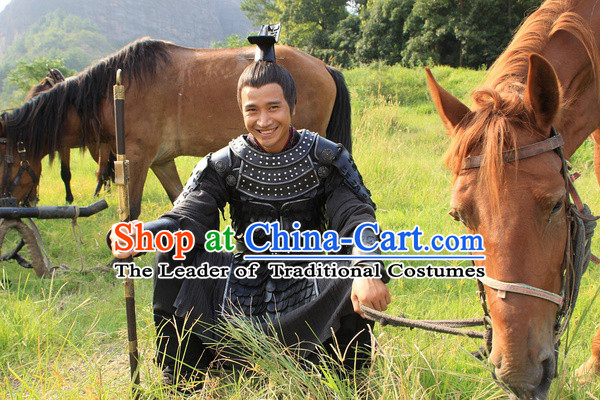 Chinese Han Dynasty Military General Armor Costumes Dresses Clothing Clothes Garment Outfits Suits Complete Set for Men