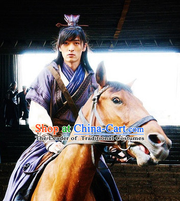 Chinese Han Dynasty Swordsman Costumes Dresses Clothing Clothes Garment Outfits Suits Complete Set for Men