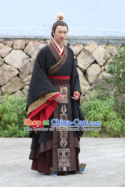 Chinese Emperor Wen of Han Costumes Dresses Imperial Clothing Clothes Garment Outfits Suits Complete Set for Men