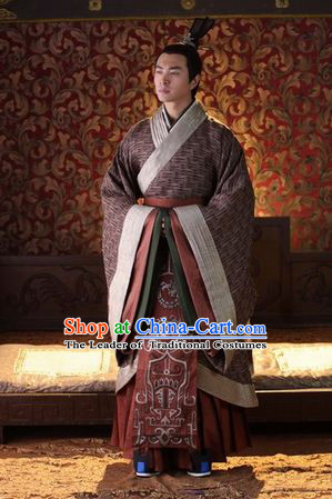 Chinese Han Dynasty Emperor Gaozu of Han Costumes Dresses Clothing Clothes Garment Outfits Suits Complete Set for Men