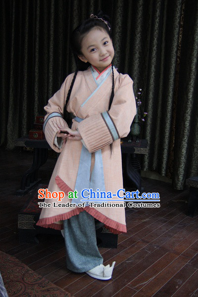 Chinese Han Dynasty Kids Costumes Dresses Clothing Clothes Garment Outfits Suits Complete Set