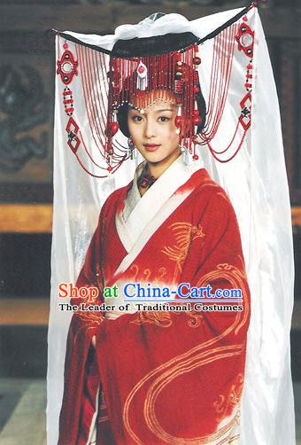 Chinese Qin Dynasty Princess Costumes Dresses Clothing Clothes Garment Outfits Suits Complete Set for Women