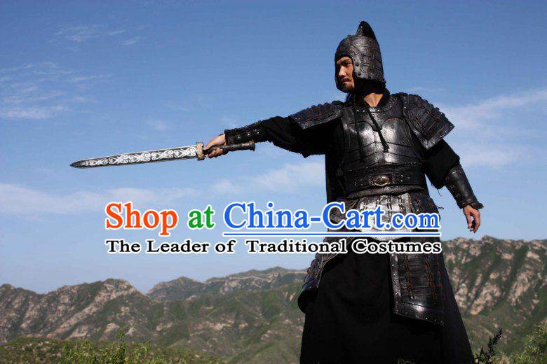 Chinese Qin Dynasty General Duke Shi Neiteng Armor Costumes Dresses Clothing Clothes Garment Outfits Suits Complete Set for Men