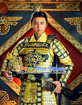 Chinese Qin Dynasty Emperor Han Wudi Armor Costumes Dresses Clothing Clothes Garment Outfits Suits Complete Set for Men