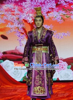 Chinese Qin Dynasty Emperor Zi Ying Costumes Dresses Clothing Clothes Garment Outfits Suits Complete Set for Men