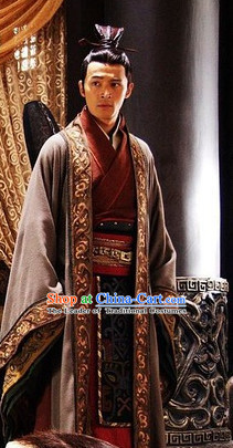 Chinese Qin Dynasty Prime Minster Zhao Gao Costumes Dresses Clothing Clothes Garment Outfits Suits Complete Set for Men