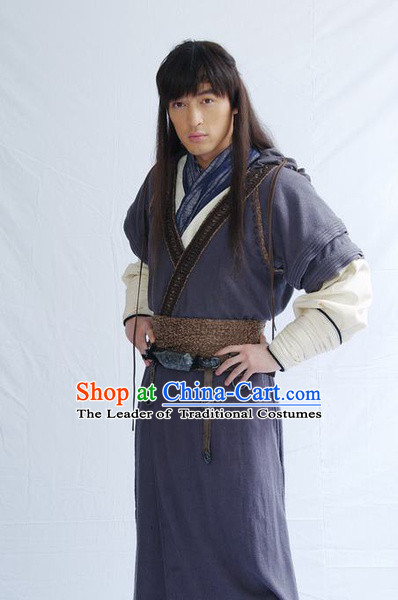 Chinese Qin Dynasty Knight Swordsman Superhero Costumes General Costume Dresses Clothing Clothes Garment Outfits Suits Complete Set for Men
