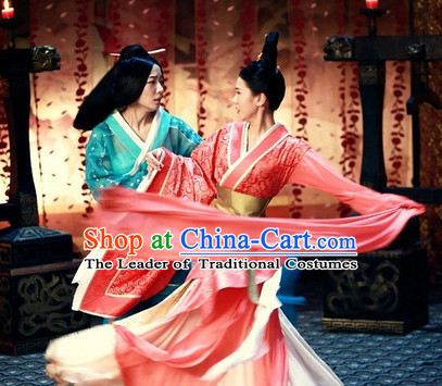 Chinese Han Dynasty Palace Dancer Costume Dresses Clothing Clothes Garment Outfits Suits Complete Set for Women