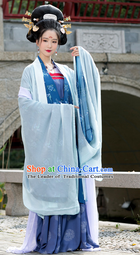 Ancient Chinese Costumes Free Custom Tailored Tang Dynasty Clothing and Hair Accessories for Women