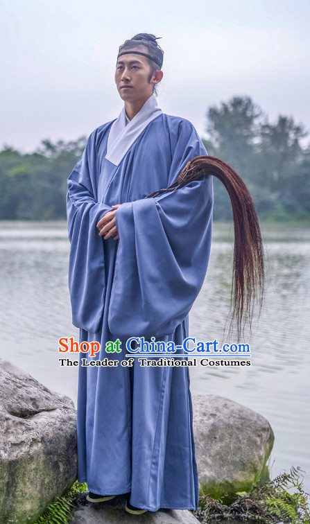 Chinese Traditional Ming Dynasty Taoist Costumes and Headwear Complete Set for Men