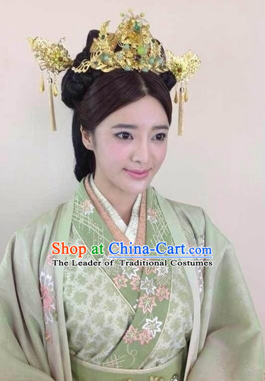 Chinese Ancient Style Queen Princess Wigs and Hair Jewelry Accessories Hairpins Headwear Headdress Hair Fascinators for Women