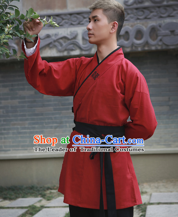 Red Chinese Costume Chinese Costumes Hanfu Han Dynasty Ancient China Scholar Clothing Dress Garment Suits Clothes Complete Set for Men