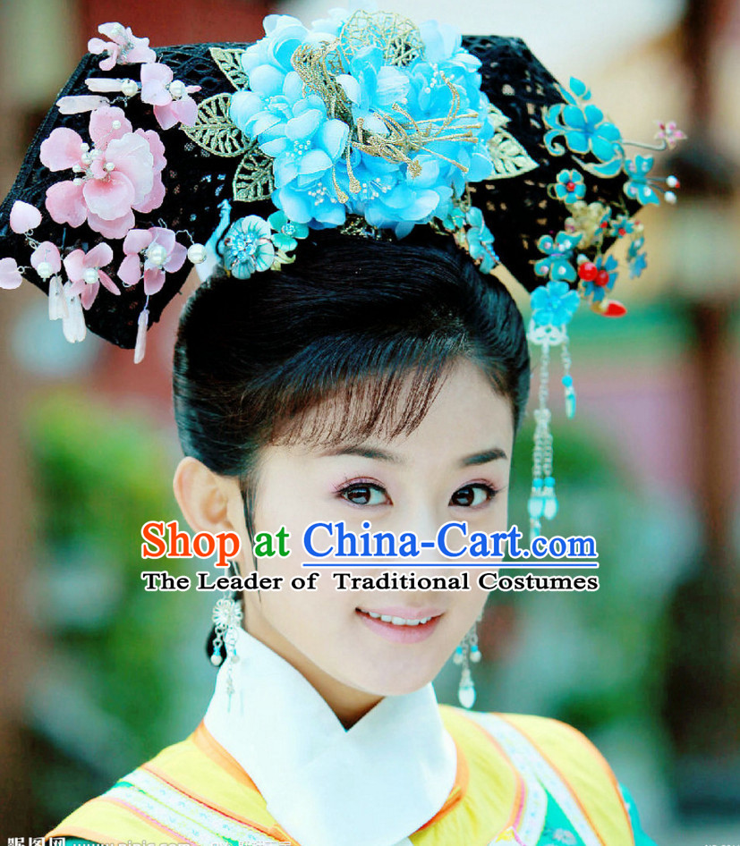 Chinese Qing Dynasty Princess Headwear Headpieces Hair Jewelry Headdress
