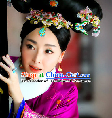 Chinese Qing Dynasty Black Long Wigs and Headwear Headpieces Hair Jewelry Headdress for Women