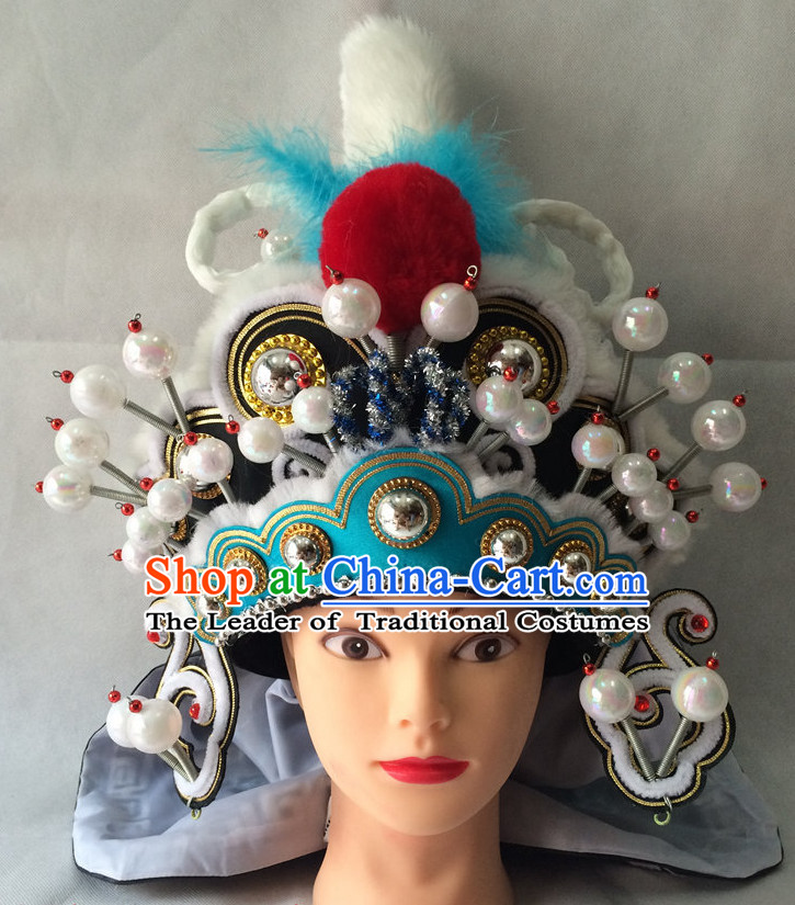 Chinese Opera Military General Hat Helmet Hat Headwear Headpieces Headdress for Men