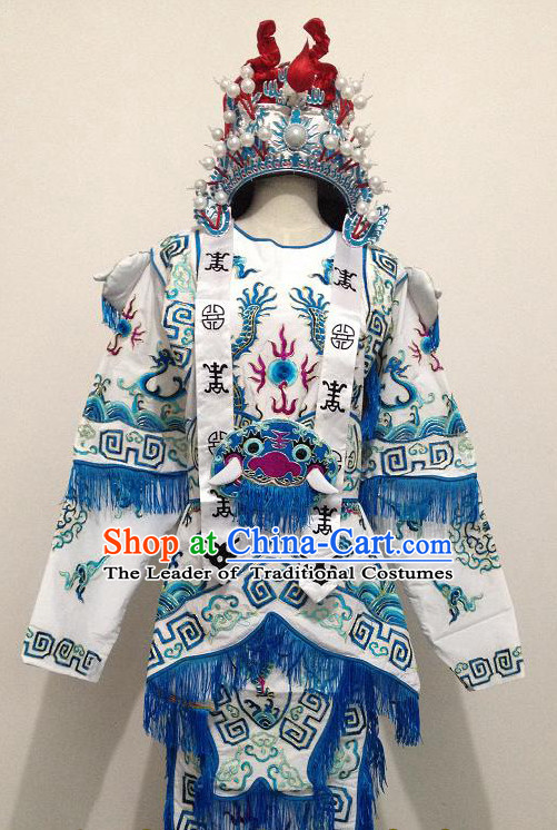 Chinese Opera Classic Embroidered Armor Costumes Chinese Costume Dress Wear Outfits Suits and Crown for Women
