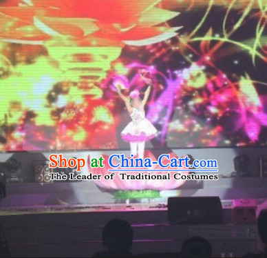Electric Chinese Dance Costumes Prop Classical Lotus Dance Costume Props Stage Performance Base Folk Decoration for Kids