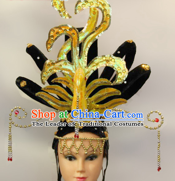 Chinese Stage Performance Classic Dance Apparel Wigs and Headwear Folk Dancing Headdress Headpieces Hair Accessories