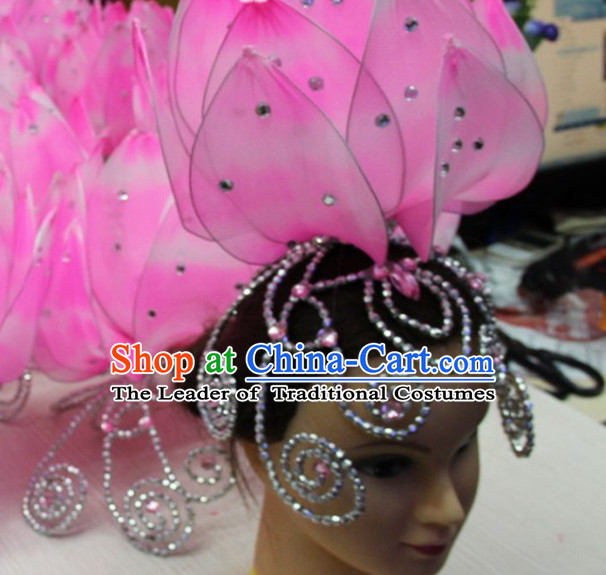 Chinese Stage Performance Classic Lotus Flower Dance Apparel Folk Dancing Headdress Headpieces Hair Accessories