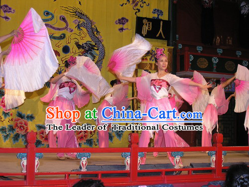 Chinese Classic Folk Fan Dance Costumes and Headwear Complete Set for Women