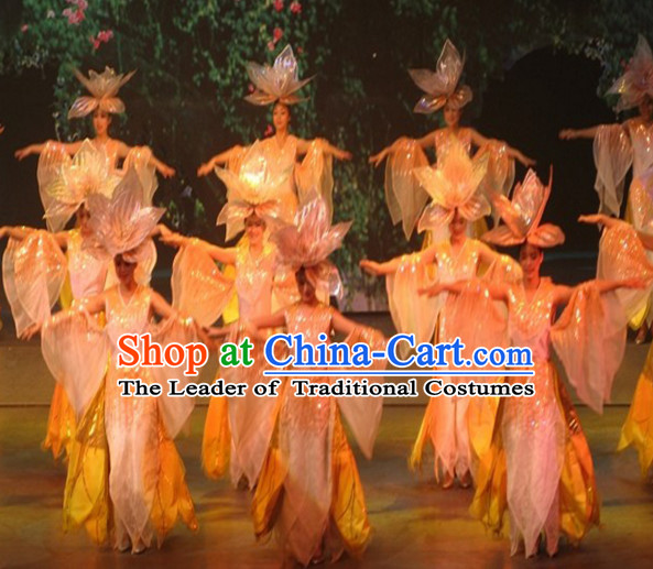 Chinese LED Lights Folk Flower Classic Dance Costumes and Headwear Complete Set for Women