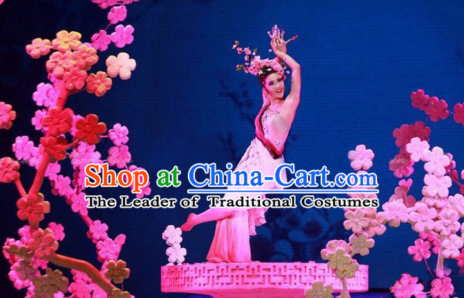 Chinese Folk Classic Peach Blossom Dance Costumes and Headwear Complete Set for Women