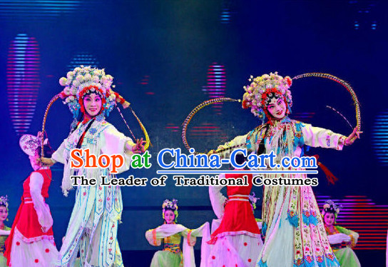 Chinese Peking Opera Classical Folk Dance Costumes Complete Set for Women