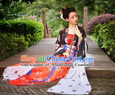 Chinese Tang Dynasty Clothes Clothing Costumes and Hair Accessories Complete Set for Women