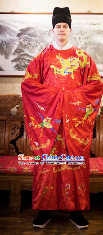 Ming Dynasty Ancient Chinese Costumes Classic Clothing Clothes Garment Outfits Dance Wear Embroidered Crane Wedding Dresses and Hat for Men