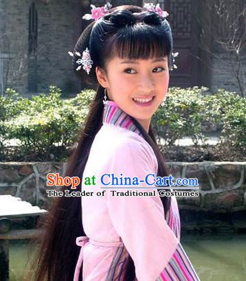 Chinese Ancient Black Long Wigs and Hair Accessories for Girls