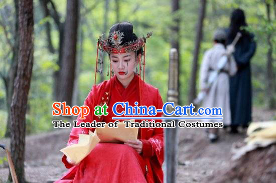 Ancient Chinese Wedding Bridal Red Dresses and Phoenix Crown
