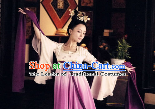 Ancient Chinese Wide Sleeves Classical Dance Costumes and Headwear