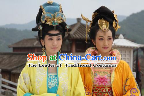 Ancient Palace Dynasty Empress Black Wigs and Hair Jewelry Set