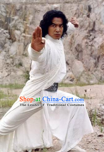 White Swordsman Costume Kimono Chinese Costume Chinese Ancient Costumes Carnival Costumes Fancy Dress and Hair Jewelry Complete Set