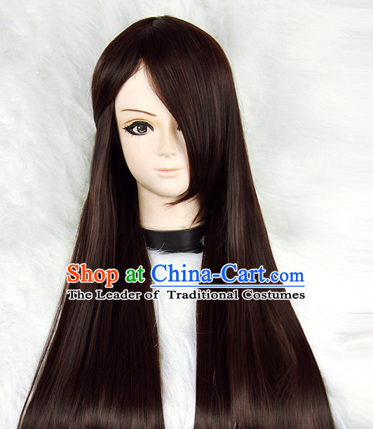 Black Chinese Ancient Swordwoman Long Wigs Classic Wig for Women