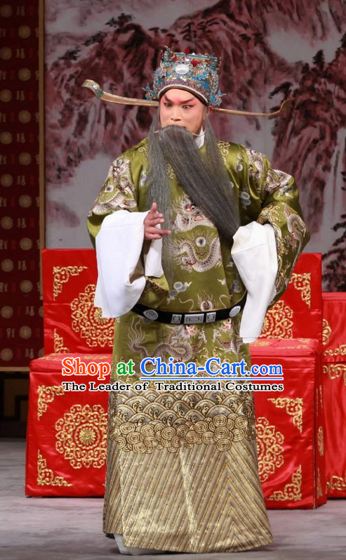 Blue Ancient Chinese Asian Peking Opera Costumes Official Costume and Hat Complete Set for Men