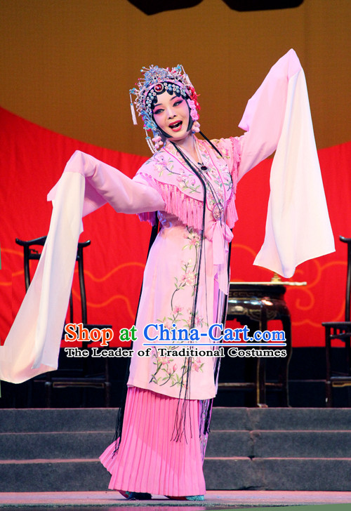 Ancient Chinese Asian Peking Opera Costumes Hua Dan Costume and Headwear Complete Set