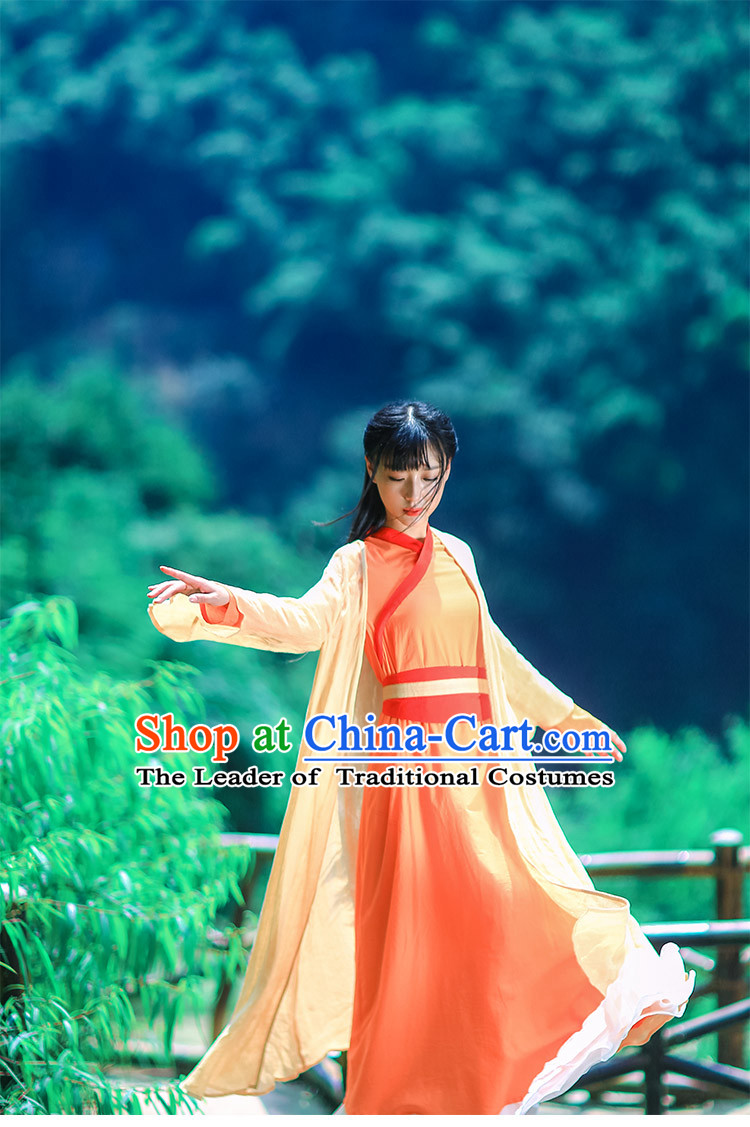 Traditional Chinese Hanfu Dress Costumes and Hair Jewelry Complete Set