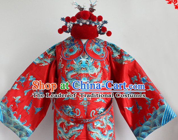 Chinese Costumes Chinese Opera Bridegroom Wedding Dress Costume and Hat Complete Set