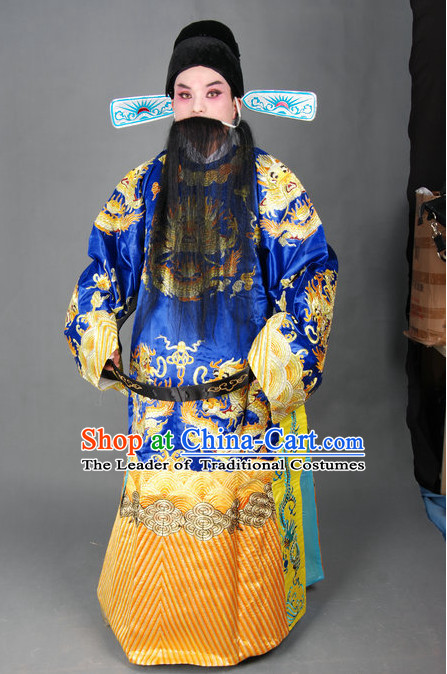 Chinese Opera Costumes Beijing Opera Costume Peking Stage Chancellor Prime Minster Dress Dragon Robe Complete Set