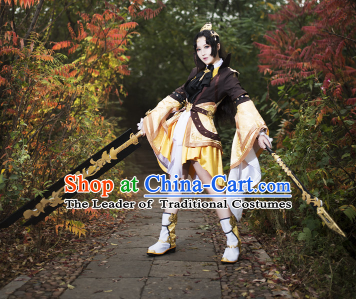 Ancient Chinese Princess Fairy Costumes and Hair Accessories Complete Set for Women