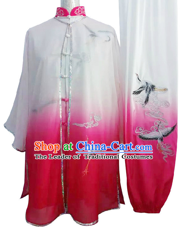 Top Embroidered Cranes Color Transition Wing Chun Uniform Martial Arts Supplies Supply Karate Gear Tai Chi Uniforms Clothing and Veil for Women or Men