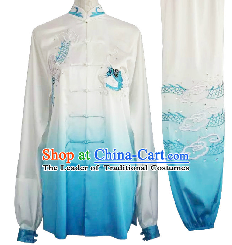 Top Embroidered Dragon Color Transition Wing Chun Uniform Martial Arts Supplies Supply Karate Gear Tai Chi Uniforms Clothing for Women or Men
