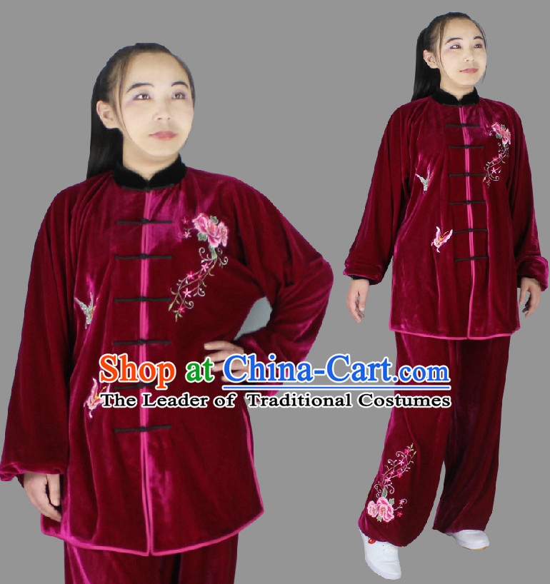 Top Long Sleeves Embroidered Wing Chun Uniform Martial Arts Supplies Supply Karate Gear Tai Chi Uniforms Clothing for Women and Girls