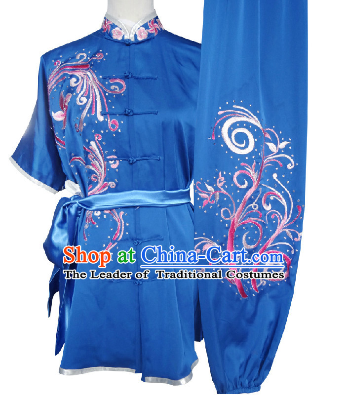 Top Short Sleeves Tai Chi Wing Chun Uniform Martial Arts Supplies Supply Karate Gear Martial Arts Uniforms Clothing and Veil for Women or Girls