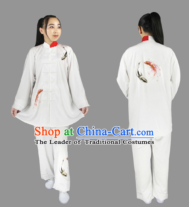 Top Long Sleeves Painted Fish Tai Chi Wing Chun Uniform Martial Arts Supplies Supply Karate Gear Martial Arts Uniforms Clothing for Men or Women