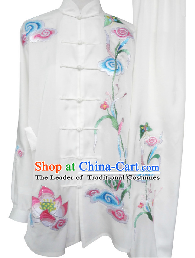 Top Long Sleeves Embroidery Tai Chi Wing Chun Uniform Martial Arts Supplies Supply Karate Gear Martial Arts Uniforms Clothing for Men and Women