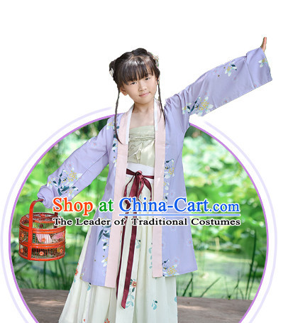 Chinese Song Dynasty Wear Clothing and Hair Jewelry Complete Set for Kids